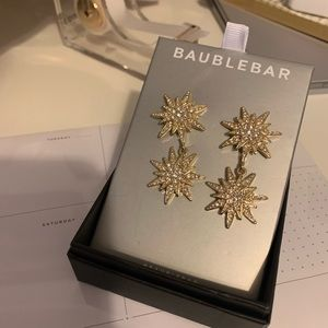 BaubleBar celestial gold star drop earrings NEW